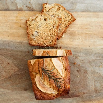 pear-rosemary quick bread overhead view