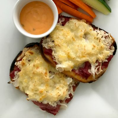 open-faced reuben sandwiches and dip