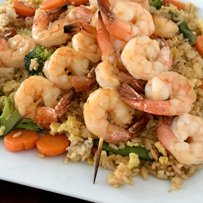 fried rice and shrimp skewers
