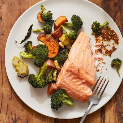 wild salmon and roasted vegetables recipe