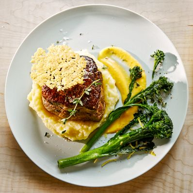 filet mignon with puree broccolini and tuile