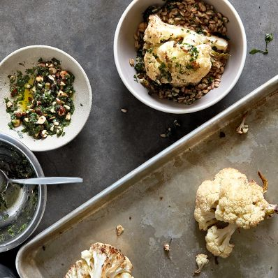 cauliflower hazelnut gremolata and farro