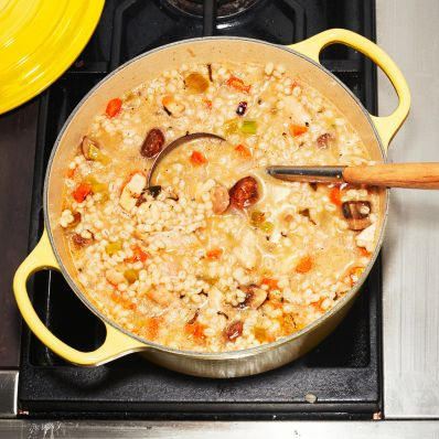 casserole dish with chicken and barley stew