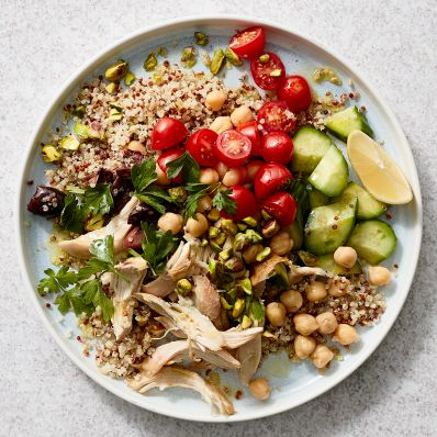mediterranean bowl with couscous chicken tomatoes