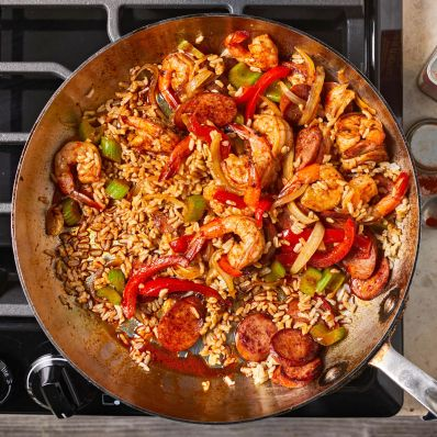 shrimp skillet with sausage and rice