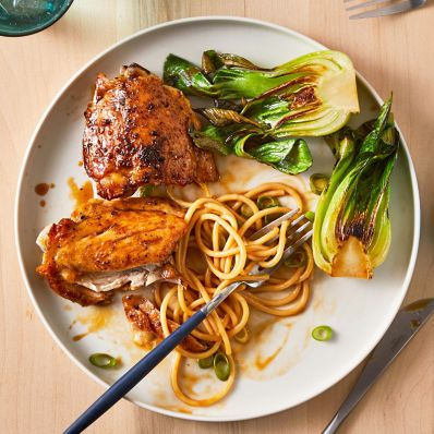 chicken thighs and noodles with soy glaze