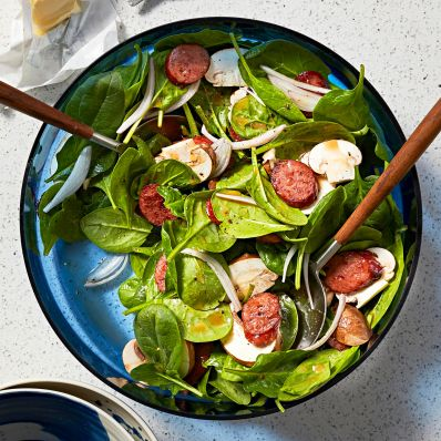 salad with spinach and sausage dressing