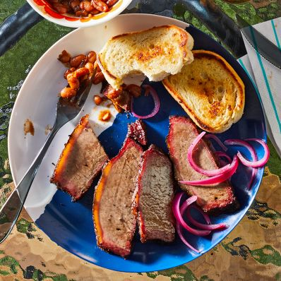 smoked brisket with toast and beans