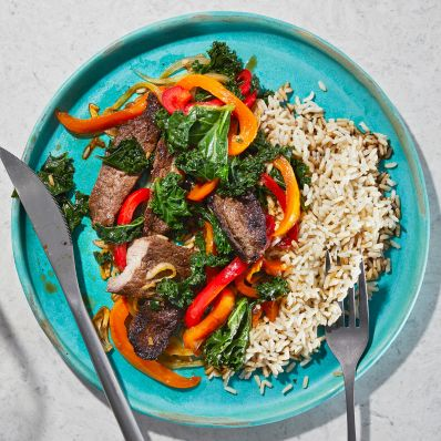 stir-fry with steak and peppers