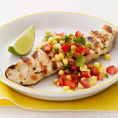 Grilled Turkey with Corn, Tomato & Sweet Pepper Salsa