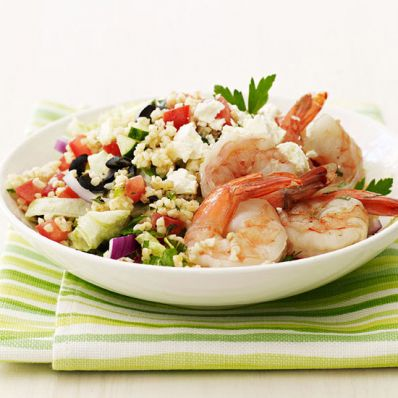 Greek Bulgur Salad with Shrimp