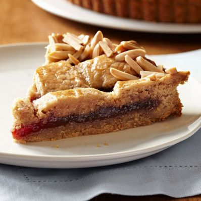 Strawberry Linzer Cookie Tart