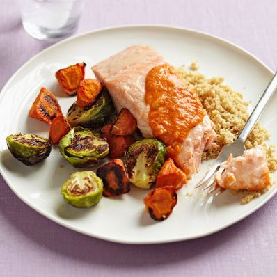 Roasted Salmon & Easy Romesco Sauce