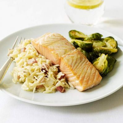 Roasted Salmon & Brussels Sprouts with Bacon Orzo