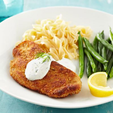 Turkey Schnitzel with Creamy Dill Sauce
