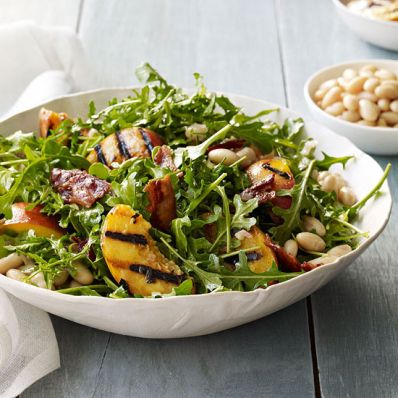 Grilled Peaches, Beans and Arugula with Warm Bacon Dressing