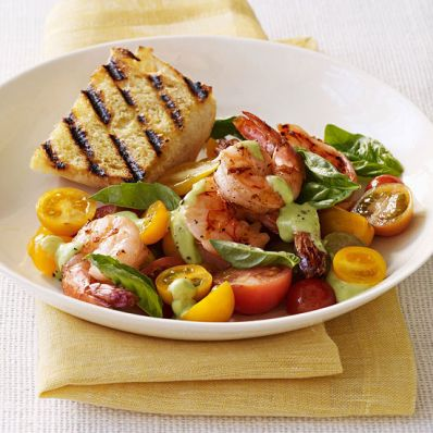 Shrimp and Tomatoes with Avocado-Basil Dressing