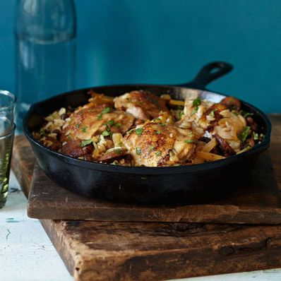 Skillet Chicken, Chorizo and Rice