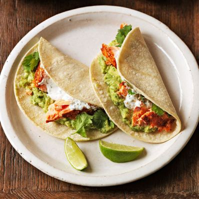 Salmon Tacos with Guacamole
