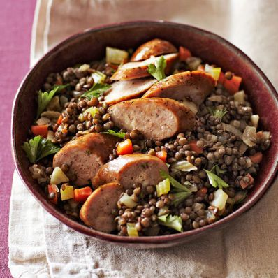 Chicken Sausage over Lentils