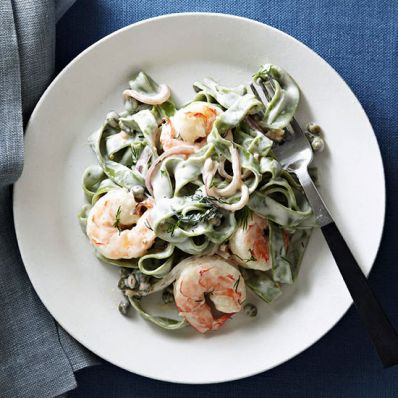 Shrimp Fettuccine with Creamy Caper Sauce