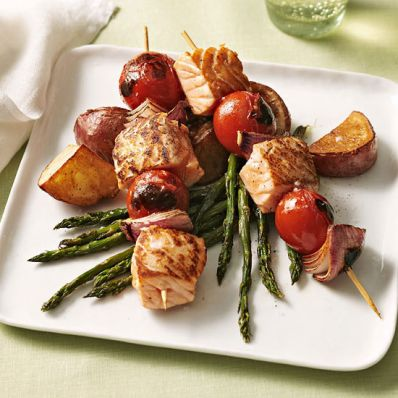 Salmon Skewers over Roasted Vegetables