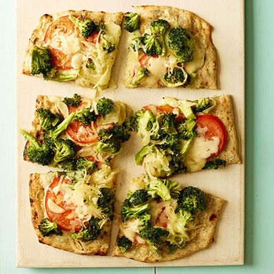 Cheesy Broccoli and Tomato Flatbread