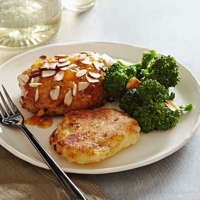 Apricot-Glazed Pork Chops and Potato Pancakes