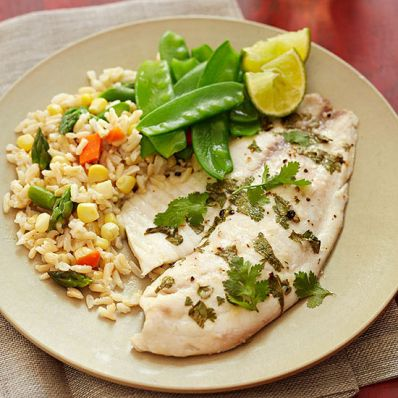 Baked Cilantro Tilapia with Brown Rice and Snow Peas