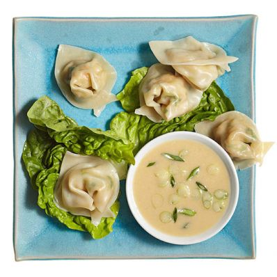 Shrimp Dumplings with Miso Dipping Sauce