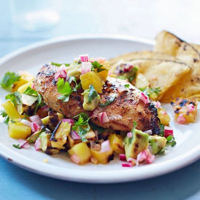 Chicken and Grilled Pineapple Salsa