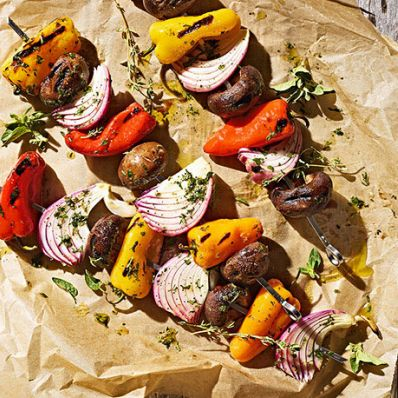 Pepper and Cremini Mushroom Skewers