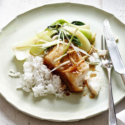 Ginger and Scallion Steamed Sea Bass