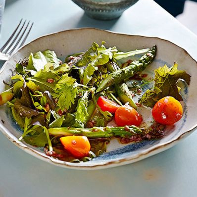 Charred Asparagus and Tomato Salad