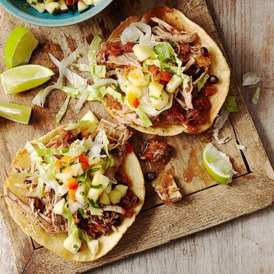 Ancho Pork and Black Bean Tostadas