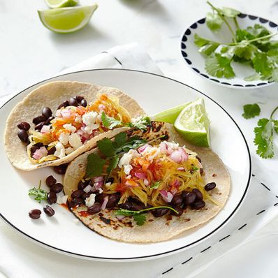 Spaghetti Squash and Black Bean Tacos with Queso Fresco