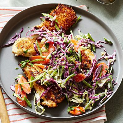 Panko Honey-Fried Chicken and Napa Slaw