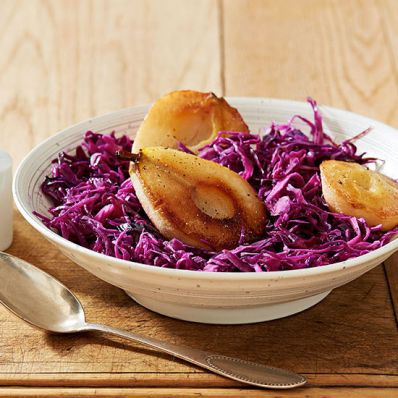 Sweet-Tart Red Cabbage with Roasted Pears