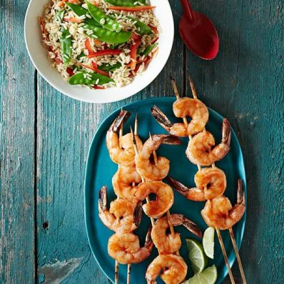 Sriracha-Glazed Shrimp with Snow Pea Salad