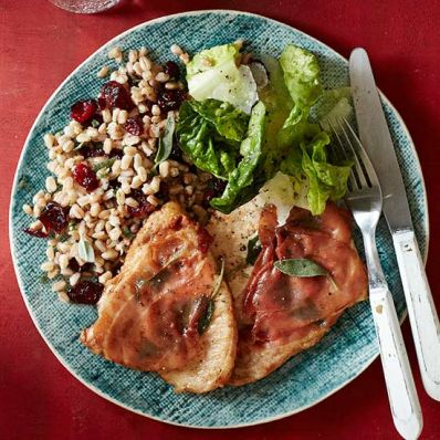 Turkey Cutlets with Prosciutto and Farro Pilaf