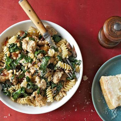 Rotini with Sausage, Chard and Pine Nuts