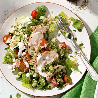 Grilled Chicken Tabbouleh Salad with Spiced Yogurt Dressing