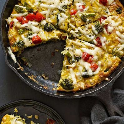 Broccoli, Tomato and Chickpea Frittata