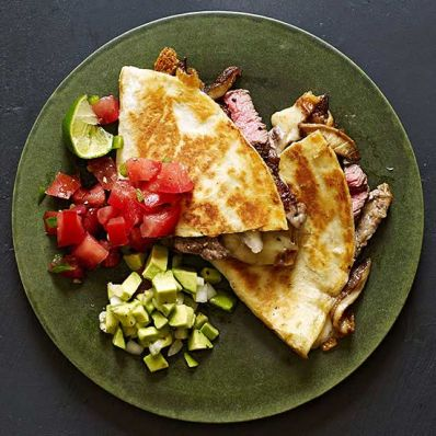 Sliced Beef Tenderloin and Shiitake Quesadillas with Two Salsas