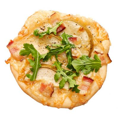 Pizzettes with Pear, Bacon and Swiss