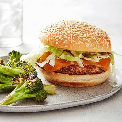 Chicken Burgers with Roasted Broccoli