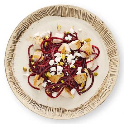 Beets with Chicken, Goat Cheese and Pistachios Veggie Noodles