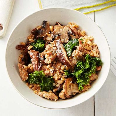 Oven Farro Risotto with Sausage, Mushrooms and Kale