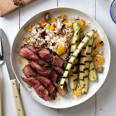 Coffee-Rubbed Steak with Charred Zucchini