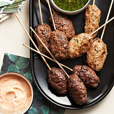 Chicken, Beef and Lamb Koftas with Harissa-Yogurt and Mint-Scallion Sauces